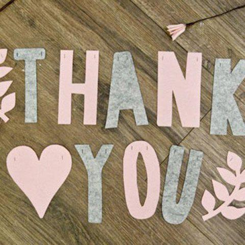 Outfits Set of Fashion Thank You Letters Garland Flags For Party Decoration Supplies - PINK + GRAY  Mobile