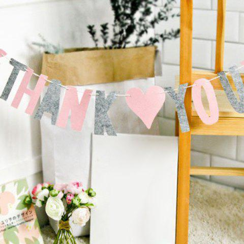 Outfit Set of Fashion Thank You Letters Garland Flags For Party Decoration Supplies - PINK + GRAY  Mobile