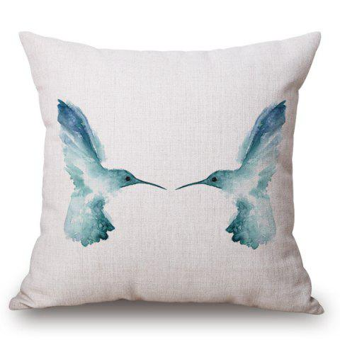 Sale Creative Blue Bird Ink Painting Pattern Square Shape Pillow Case