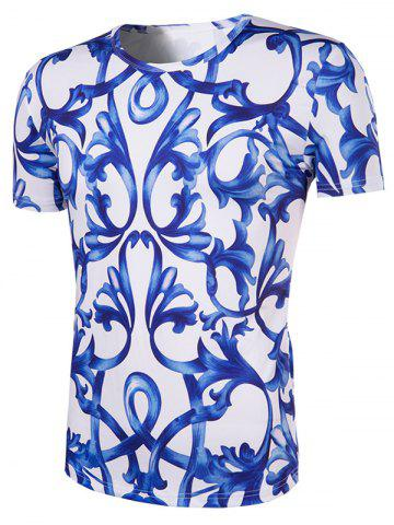Discount Slimming National Style Printing Collarless Short Sleeves For Men - 2XL BLUE AND WHITE Mobile