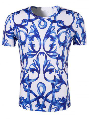 Chic Slimming National Style Printing Collarless Short Sleeves For Men BLUE AND WHITE 2XL