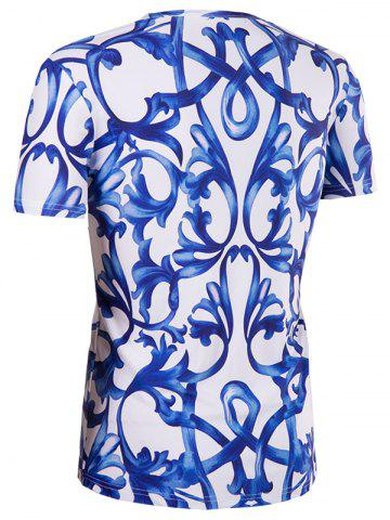 Outfits Slimming National Style Printing Collarless Short Sleeves For Men - 2XL BLUE AND WHITE Mobile