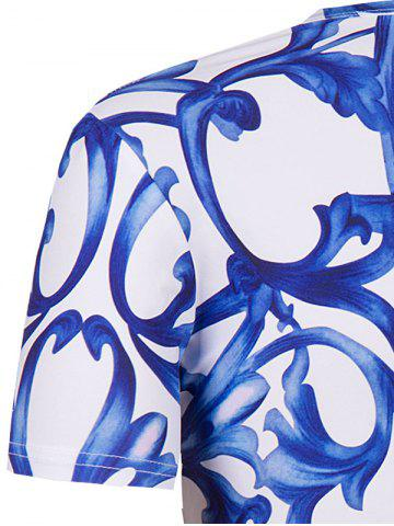 Best Slimming National Style Printing Collarless Short Sleeves For Men - 2XL BLUE AND WHITE Mobile