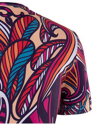 Latest Slimming Collarless National Style Printing Short Sleeves For Men - 2XL COLORMIX Mobile