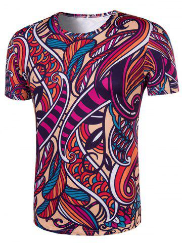 Shops Slimming Collarless National Style Printing Short Sleeves For Men - 2XL COLORMIX Mobile