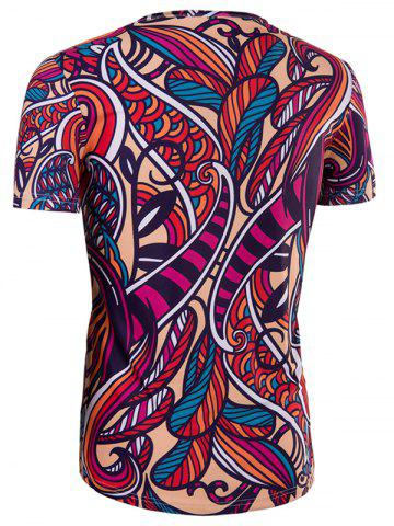 Outfit Slimming Collarless National Style Printing Short Sleeves For Men - 2XL COLORMIX Mobile
