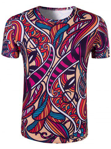 Best Slimming Collarless National Style Printing Short Sleeves For Men - 2XL COLORMIX Mobile