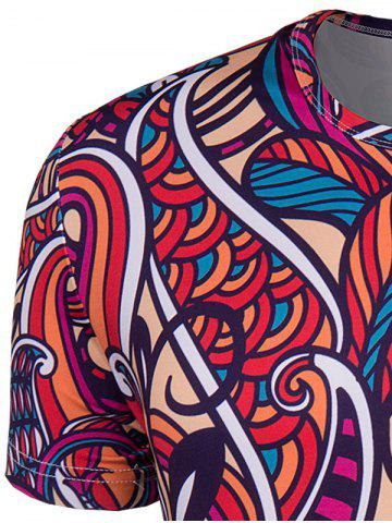 Online Slimming Collarless National Style Printing Short Sleeves For Men - 2XL COLORMIX Mobile
