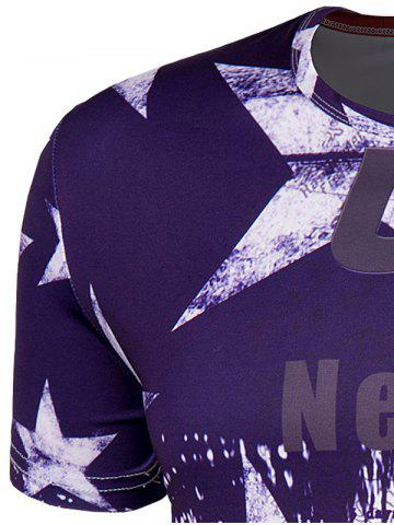 Store Slimming Collarless Bus Printing Short Sleeves For Men - M COLORMIX Mobile