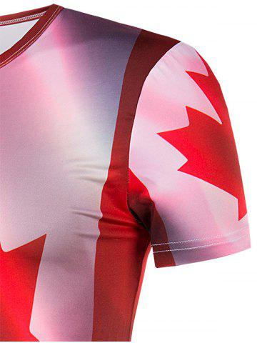 Shop Slimming Collarless Maple Leaf Printing Short Sleeves For Men - 2XL COLORMIX Mobile