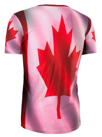 Store Slimming Collarless Maple Leaf Printing Short Sleeves For Men - 2XL COLORMIX Mobile