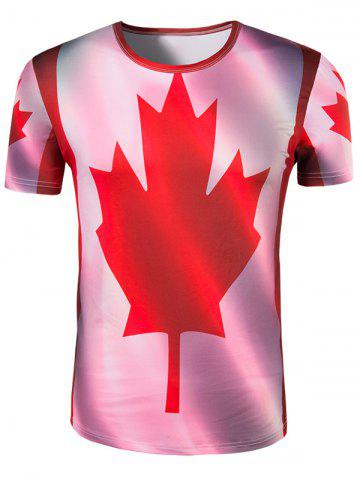 New Slimming Collarless Maple Leaf Printing Short Sleeves For Men - XL COLORMIX Mobile