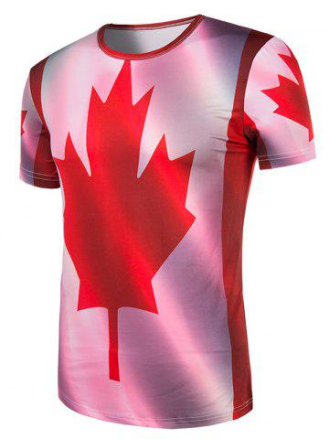 Store Slimming Collarless Maple Leaf Printing Short Sleeves For Men - XL COLORMIX Mobile