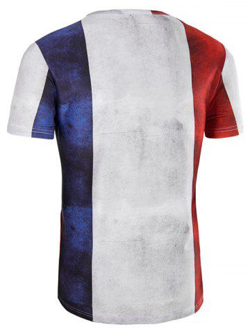 Cheap Slimming Collarless Splicing Short Sleeves For Men - 2XL COLORMIX Mobile