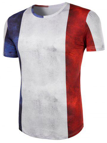 Fashion Slimming Collarless Splicing Short Sleeves For Men - 2XL COLORMIX Mobile