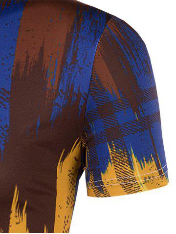 Buy Slimming Painting Collarless Short Sleeves For Men - XL COLORMIX Mobile