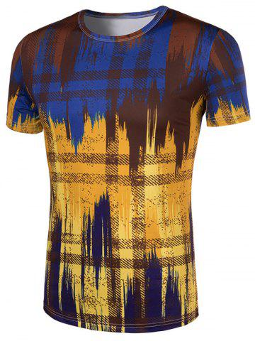 Outfits Slimming Painting Collarless Short Sleeves For Men - XL COLORMIX Mobile