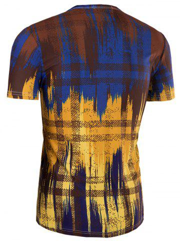 New Slimming Painting Collarless Short Sleeves For Men - XL COLORMIX Mobile