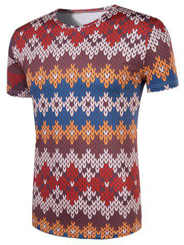 Affordable Slimming National Style Printed Collarless Short Sleeves For Men - 2XL COLORMIX Mobile