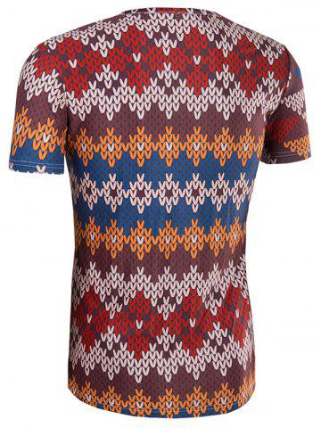 Fancy Slimming National Style Printed Collarless Short Sleeves For Men - 2XL COLORMIX Mobile