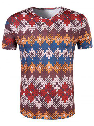 Fancy Slimming National Style Printed Collarless Short Sleeves For Men - L COLORMIX Mobile