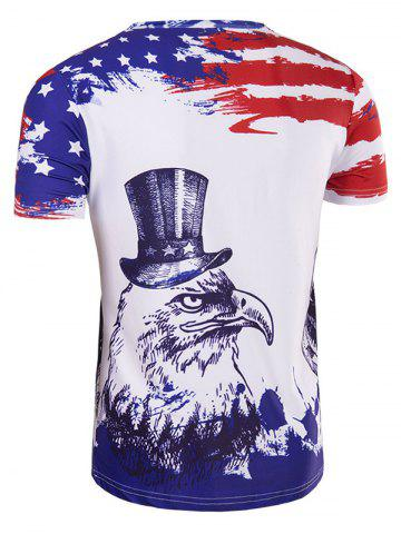 Online Hot Sale 3D Owl Printed Round Neck Short Sleeve T-Shirt For Men - M COLORMIX Mobile