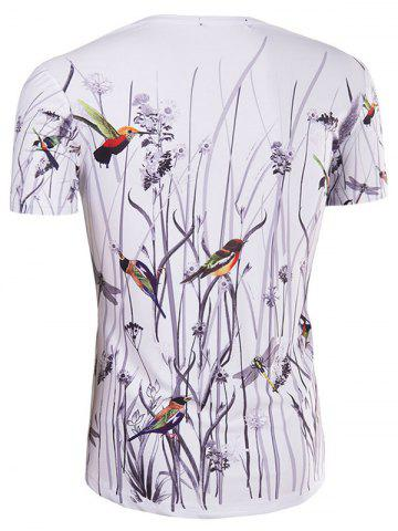 Discount Hot Sale 3D Bird and Flower Printed Round Neck Short Sleeve T-Shirt For Men - 2XL COLORMIX Mobile