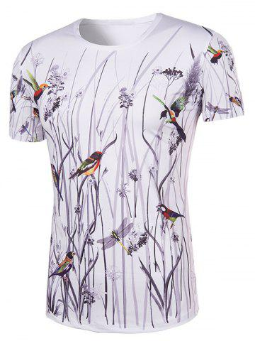 Online Hot Sale 3D Bird and Flower Printed Round Neck Short Sleeve T-Shirt For Men - 2XL COLORMIX Mobile