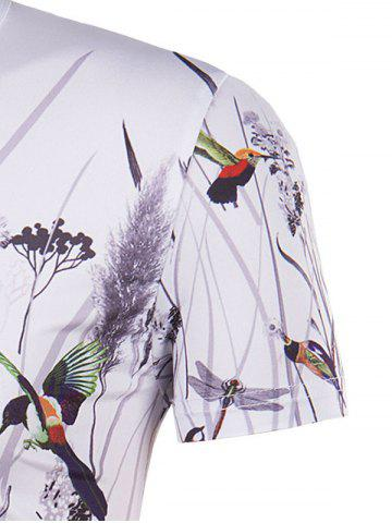 New Hot Sale 3D Bird and Flower Printed Round Neck Short Sleeve T-Shirt For Men - L COLORMIX Mobile