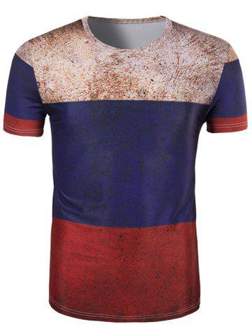 Affordable 3D Retro Color Block Round Neck Short Sleeve T-Shirt For Men COLORMIX 2XL