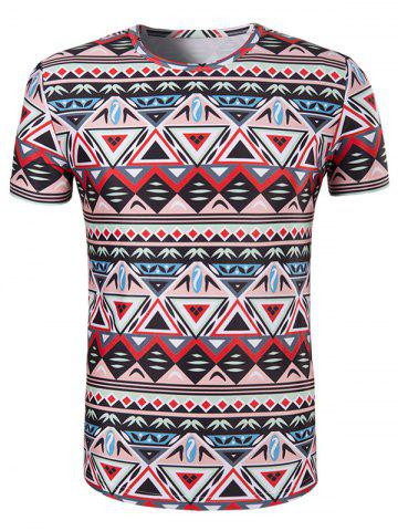 Chic 3D Geometry Printed Round Neck Short Sleeve T-Shirt For Men