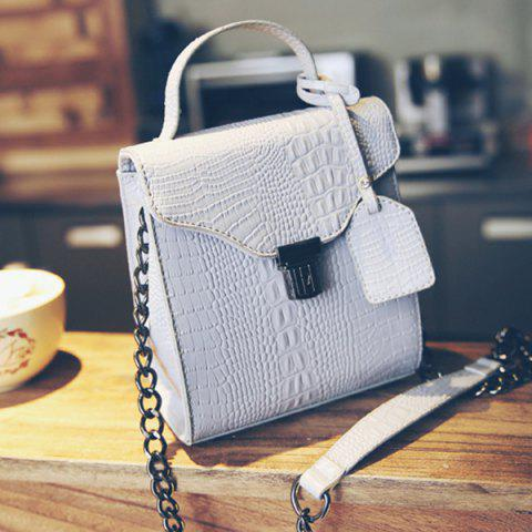 Trendy Sweet Crocodile Print and Hasp Design Tote Bag For Women -   Mobile