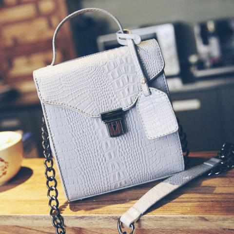 Chic Sweet Crocodile Print and Hasp Design Tote Bag For Women -   Mobile