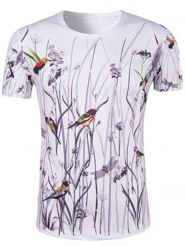 New Hot Sale 3D Bird and Flower Printed Round Neck Short Sleeve T-Shirt For Men COLORMIX XL