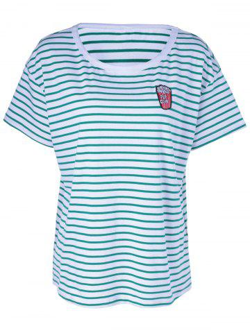 Hot Casual Stripe T For Women WHITE AND GREEN L