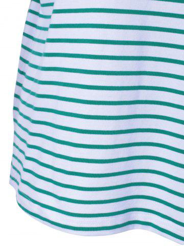 Trendy Casual Stripe T For Women - S WHITE AND GREEN Mobile