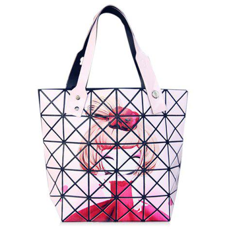 Store Fashion Print and Checked Design Tote Bag For Women