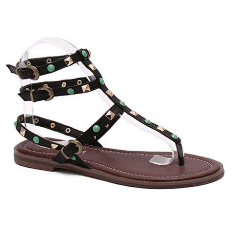 Outfits Rome Style Rivet and Flat Heel Design Sandals For Women