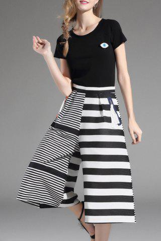 Fancy Top and Striped Wide Leg Pants