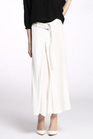 Shops Belted Pure Color Palazzo Pants