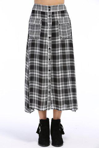 Discount Single-Breasted Checked Skirt