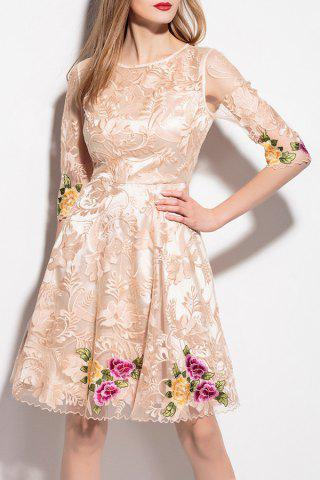 New Voile Spliced Floral Embroidery Dress