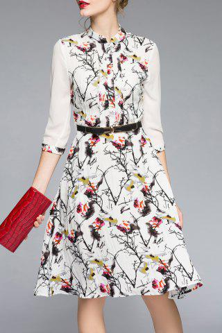 Buy Three Quarter Sleeve Printed Belted Dress