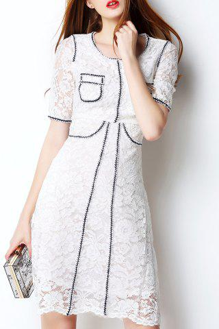 Cheap Slimming Guipure Lace Contrast Dress