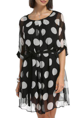Outfit Belted Polka Dot Dress and Cami Black Tank Top