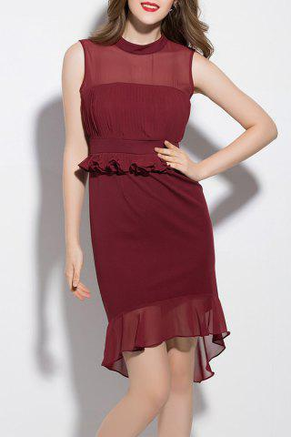 Chic Stand Neck Solid Color Mermaid Dress