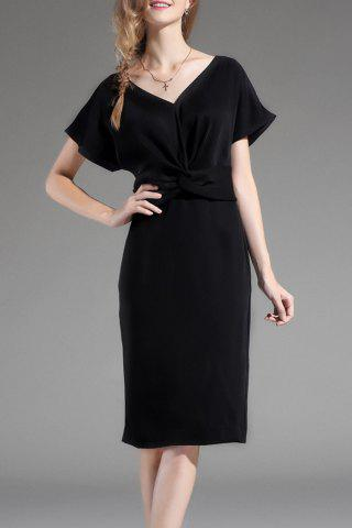 Discount Solid Color Twist Front Dress
