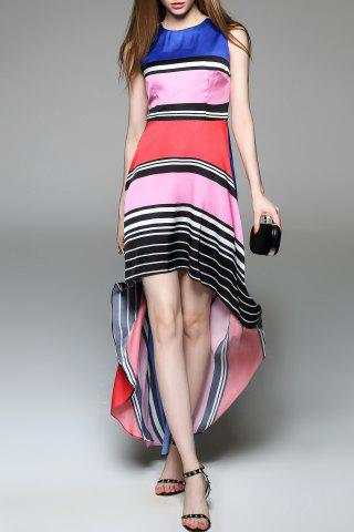 Buy Colorful Striped High Low Dress