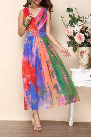 Discount V Neck Colorful Maxi Dress