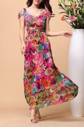 Store Backless Floral Short Sleeve Maxi Swing Summer Dress COLORMIX L